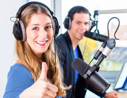 radio presenters in radio station on air
